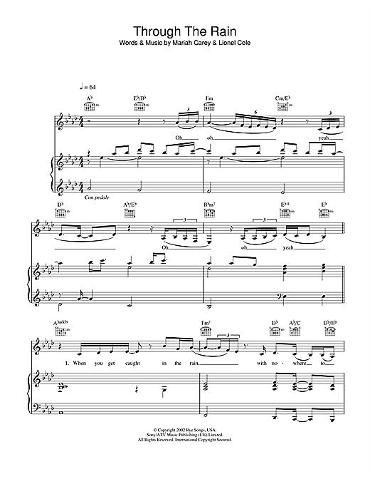 Mariah Carey Through The Rain sheet music notes and chords. Download Printable PDF.