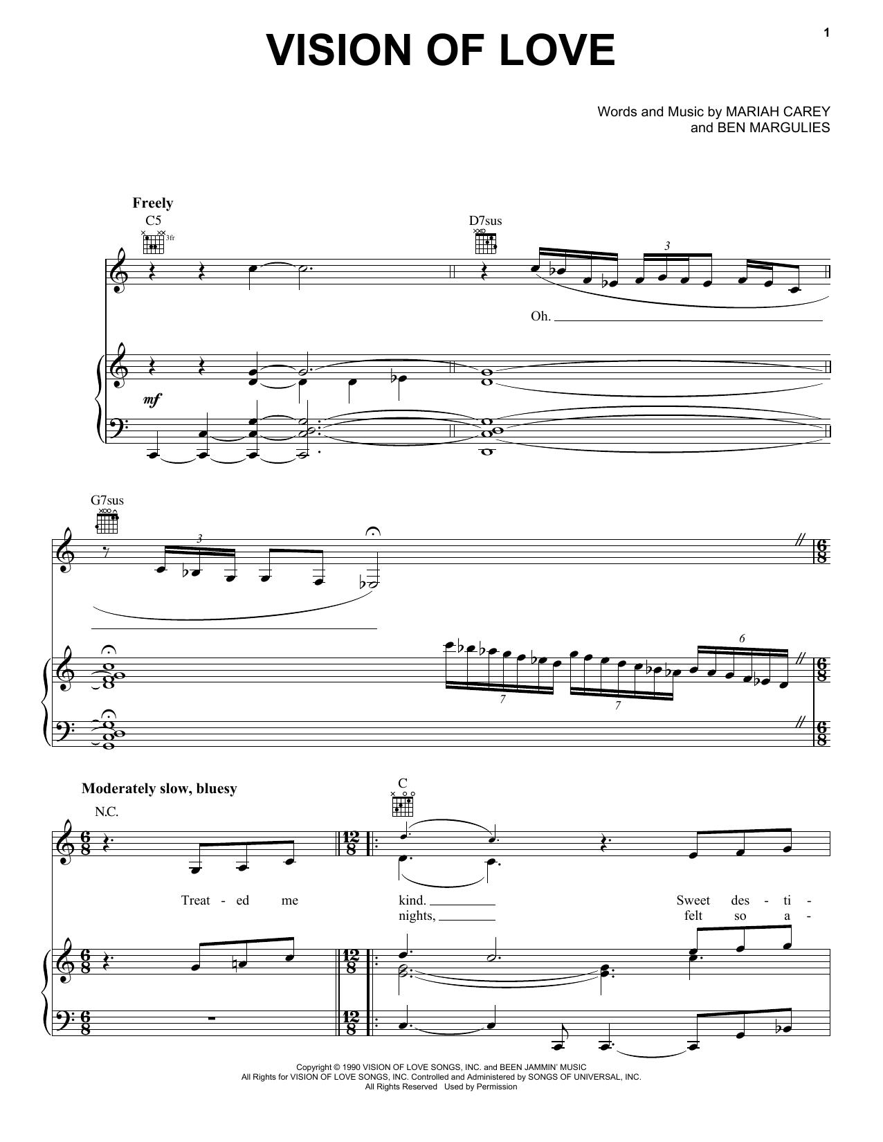 Mariah Carey Vision Of Love sheet music notes and chords. Download Printable PDF.