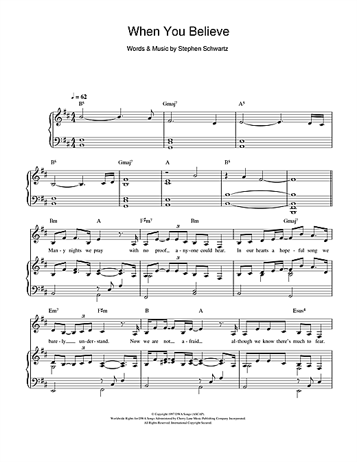 Mariah Carey and Whitney Houston When You Believe (From The Prince Of Egypt) sheet music notes and chords. Download Printable PDF.