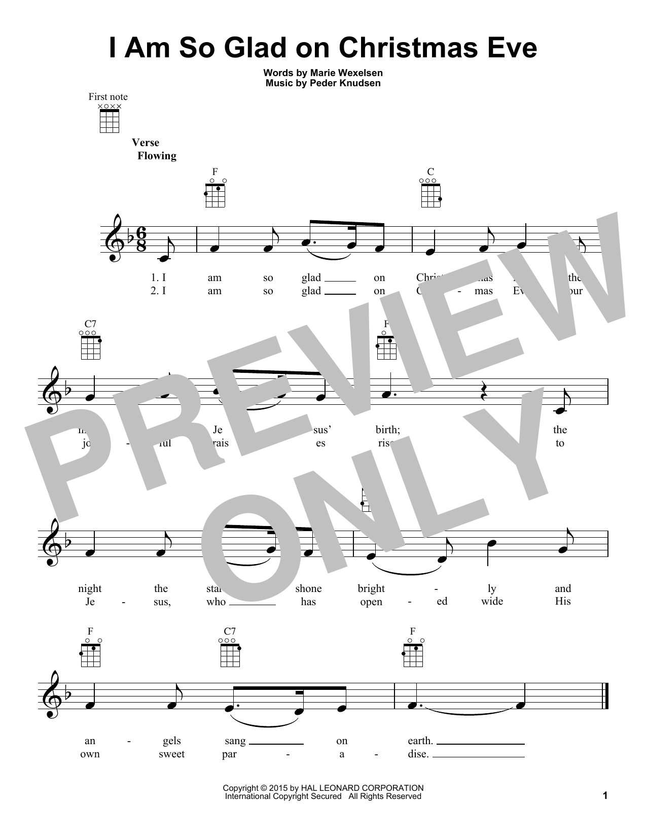 Marie Wexelsen I Am So Glad On Christmas Eve sheet music notes and chords. Download Printable PDF.