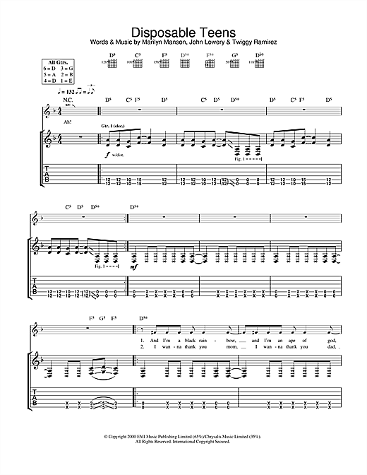 Marilyn Manson Disposable Teens sheet music notes and chords. Download Printable PDF.
