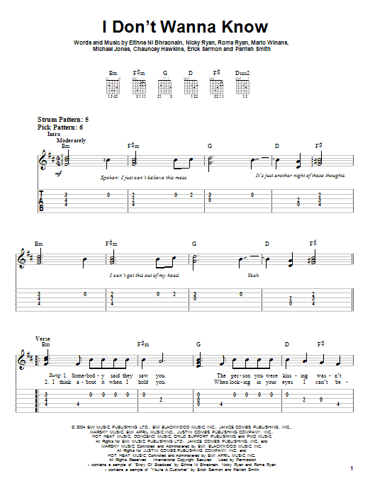 Mario Winans I Don't Wanna Know sheet music notes and chords. Download Printable PDF.