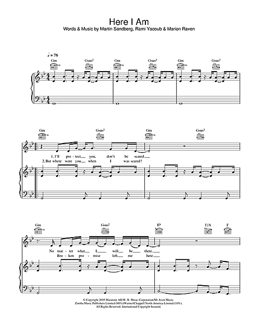 Marion Raven Here I Am sheet music notes and chords