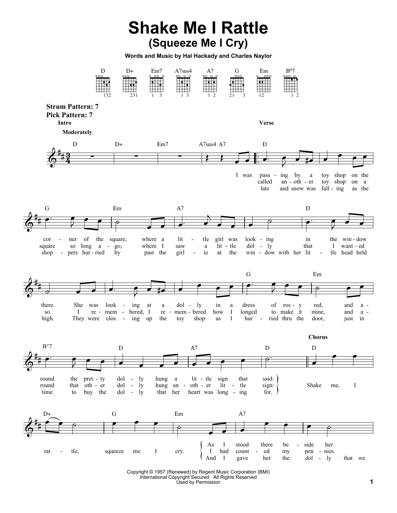 Marion Worth Shake Me I Rattle (Squeeze Me I Cry) sheet music notes and chords