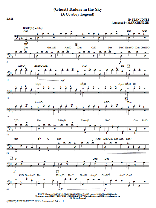 Mark Brymer (Ghost) Riders In The Sky (A Cowboy Legend) - Bass sheet music notes and chords. Download Printable PDF.