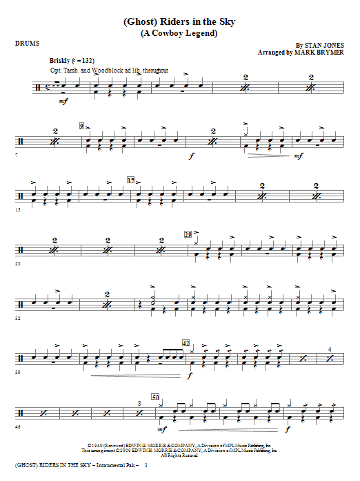 Mark Brymer (Ghost) Riders In The Sky (A Cowboy Legend) - Drums sheet music notes and chords. Download Printable PDF.