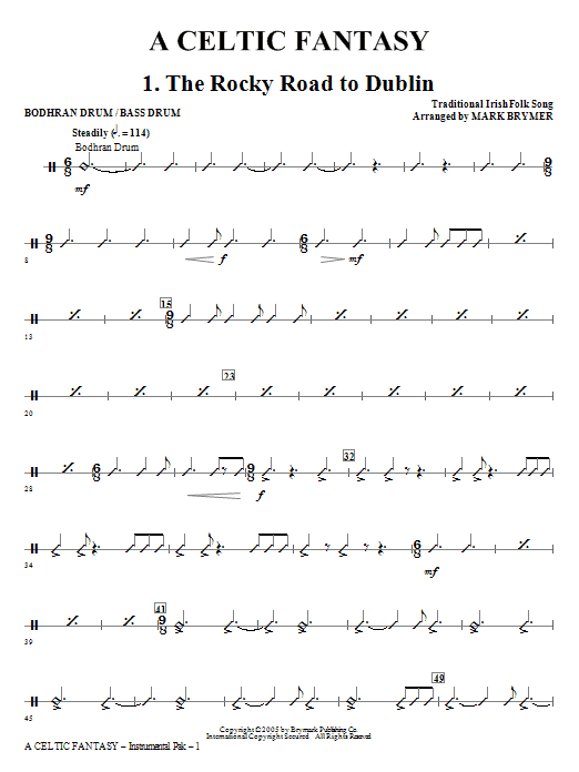Mark Brymer A Celtic Fantasy - Bodhran Drum/Bass Drum sheet music notes and chords. Download Printable PDF.