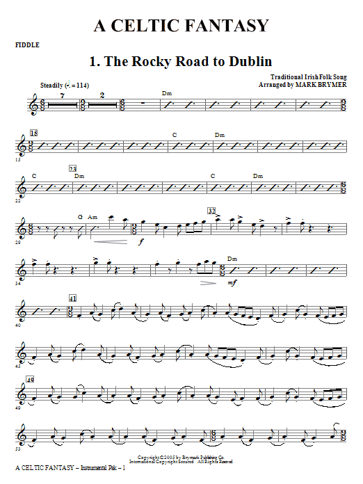 Mark Brymer A Celtic Fantasy - Fiddle sheet music notes and chords. Download Printable PDF.