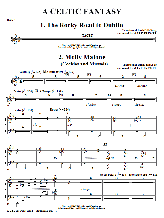 Mark Brymer A Celtic Fantasy - Harp sheet music notes and chords. Download Printable PDF.
