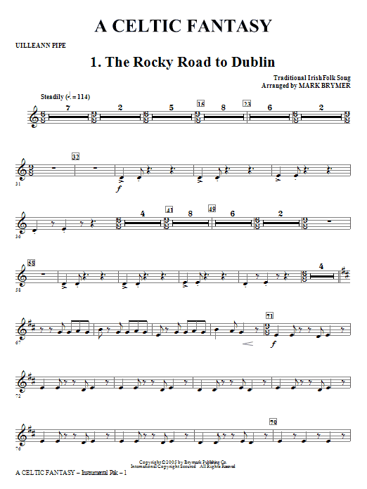 Mark Brymer A Celtic Fantasy - Uilleann Pipe/Scottish D Pipes sheet music notes and chords. Download Printable PDF.