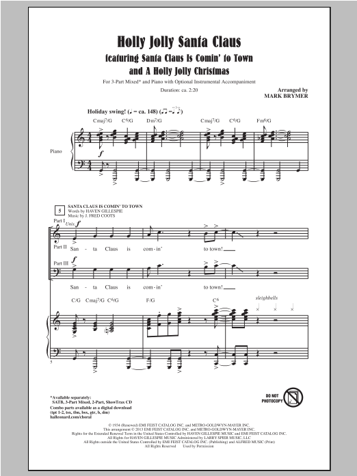 Mark Brymer A Holly Jolly Christmas sheet music notes and chords