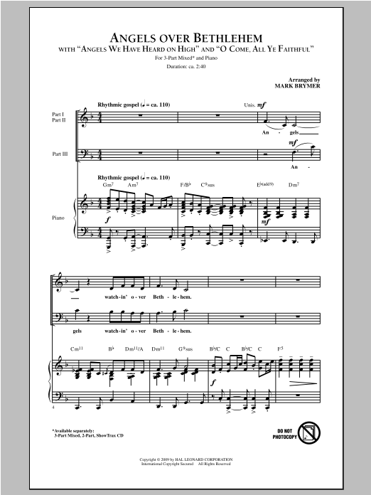 Mark Brymer Angels Over Bethlehem sheet music notes and chords. Download Printable PDF.