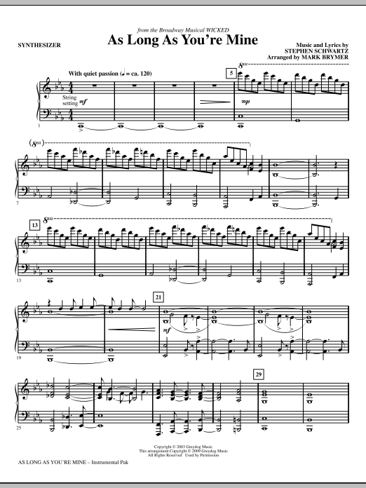 Mark Brymer As Long As You're Mine (from Wicked) - Synthesizer sheet music notes and chords. Download Printable PDF.