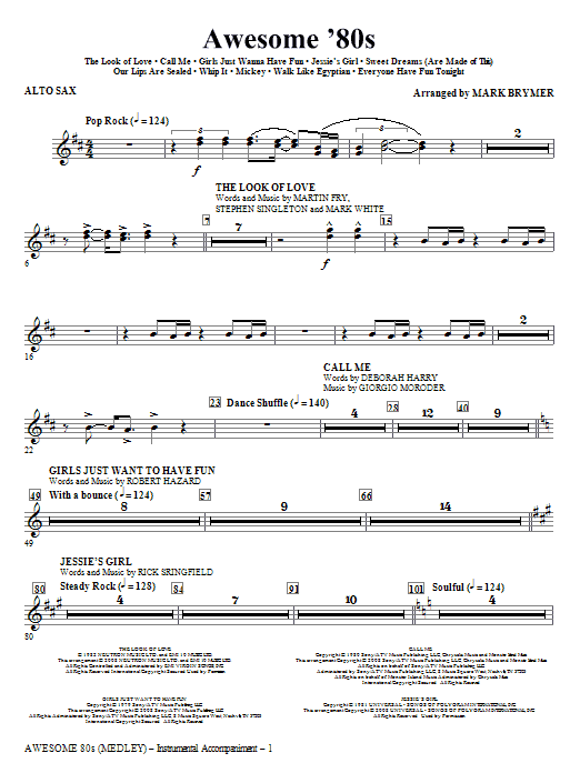 Mark Brymer Awesome '80s (Medley) - Alto Sax sheet music notes and chords. Download Printable PDF.