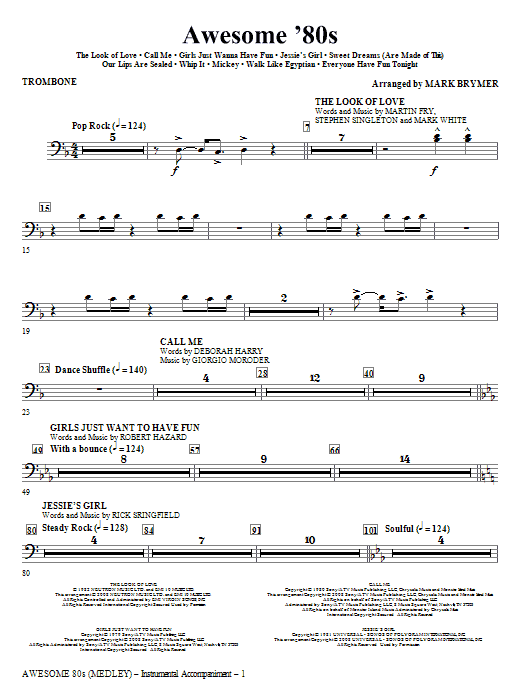 Mark Brymer Awesome '80s (Medley) - Trombone sheet music notes and chords. Download Printable PDF.
