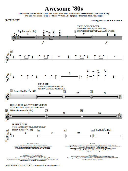 Mark Brymer Awesome '80s (Medley) - Trumpet sheet music notes and chords. Download Printable PDF.