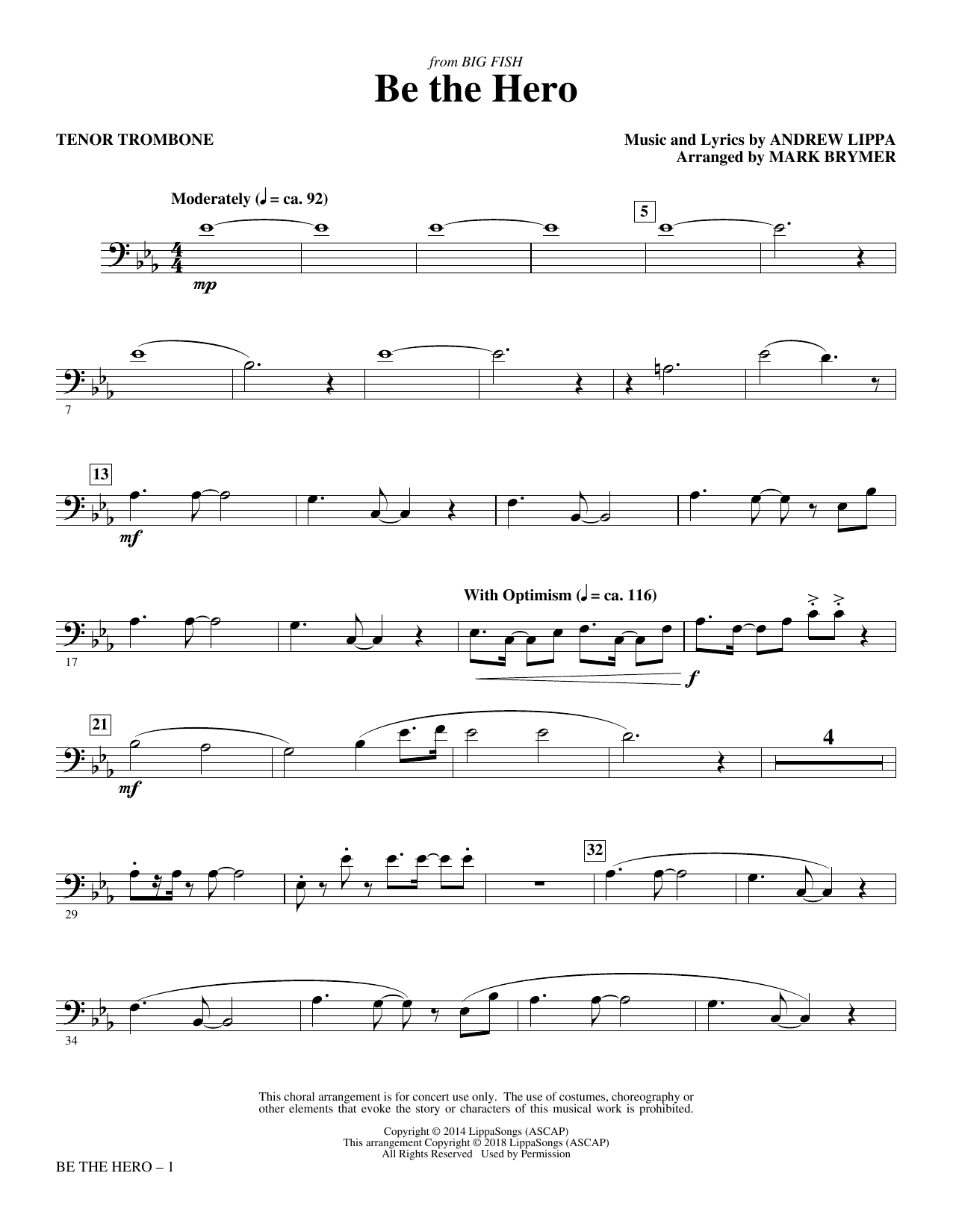 Mark Brymer Be the Hero - Tenor Trombone sheet music notes and chords. Download Printable PDF.