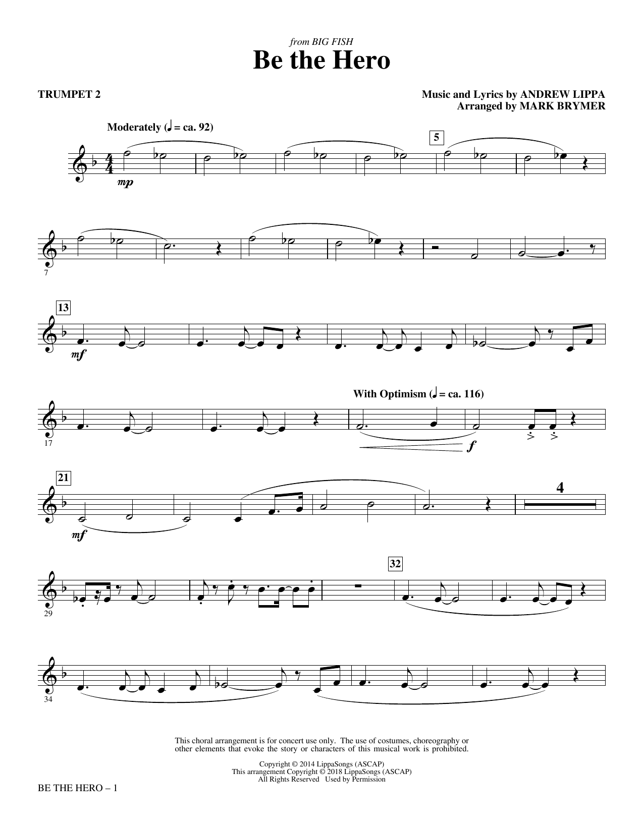 Mark Brymer Be the Hero - Trumpet 2 sheet music notes and chords. Download Printable PDF.