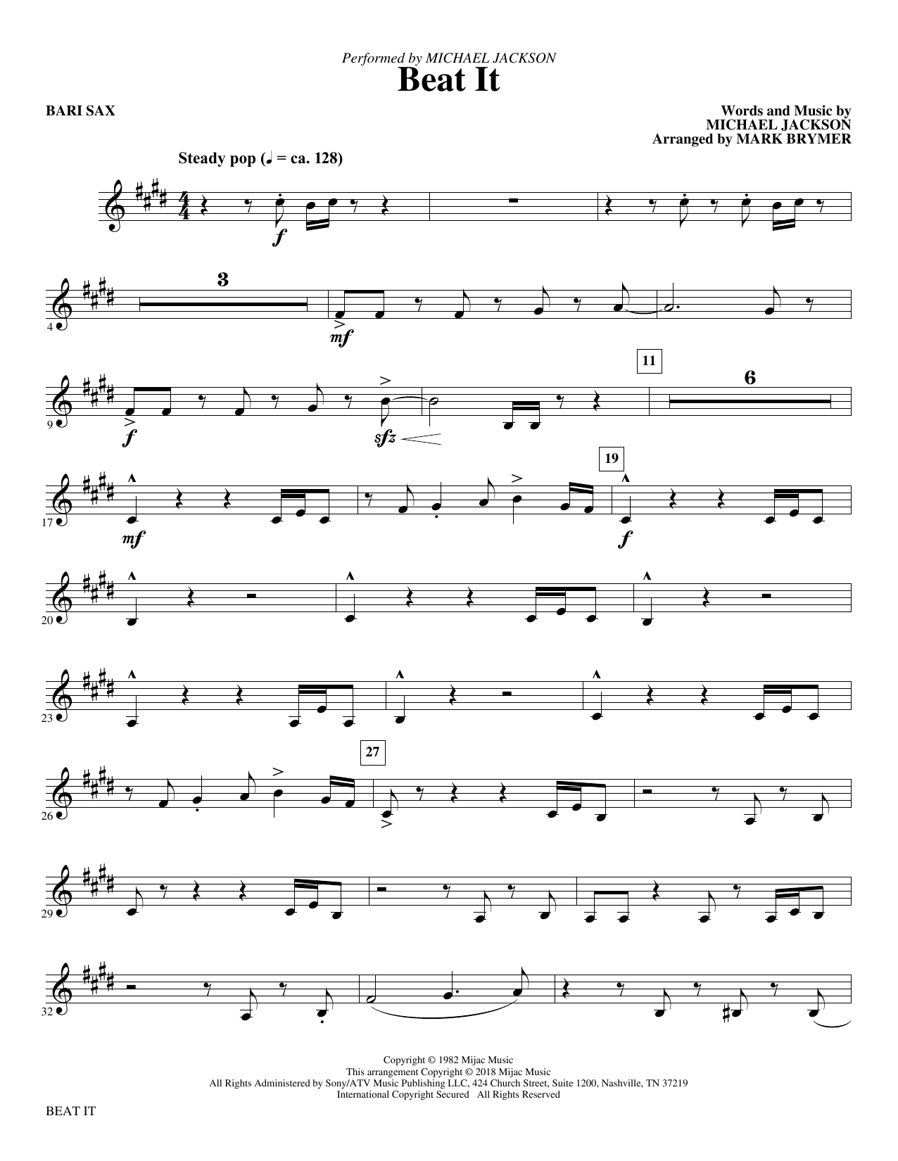 Mark Brymer Beat It - Baritone Sax sheet music notes and chords. Download Printable PDF.