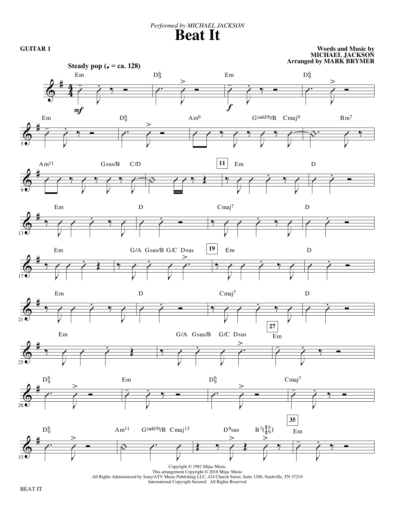 Mark Brymer Beat It - Guitar 1 sheet music notes and chords. Download Printable PDF.