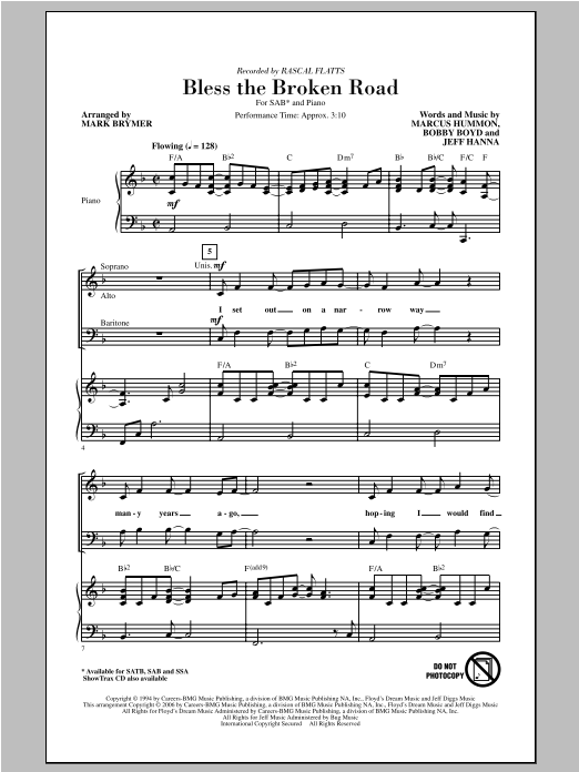Rascal Flatts Bless The Broken Road (arr. Mark Brymer) sheet music notes and chords. Download Printable PDF.