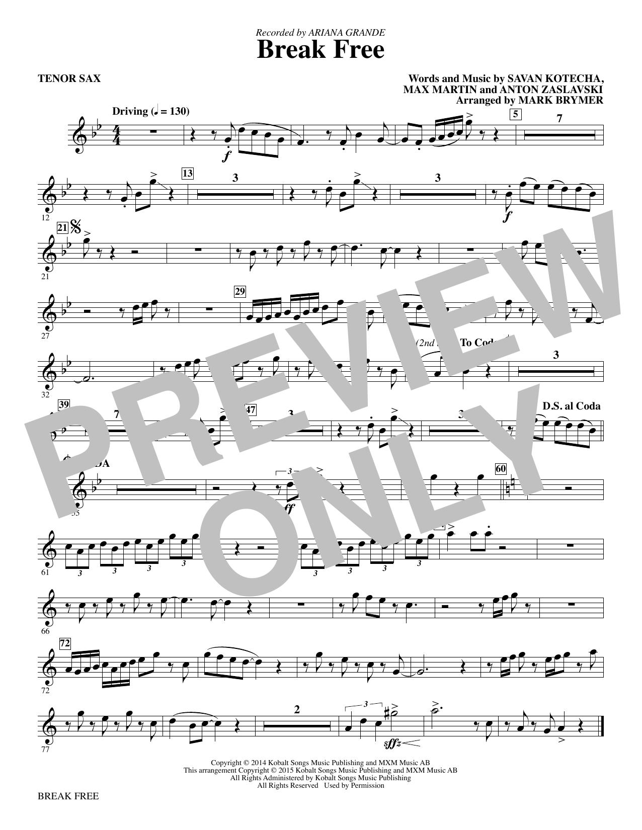 Mark Brymer Break Free - Tenor Saxophone sheet music notes and chords. Download Printable PDF.