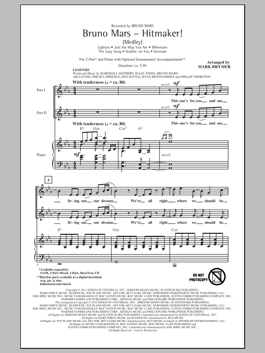 Mark Brymer Bruno Mars: Hitmaker! (Medley) sheet music notes and chords. Download Printable PDF.