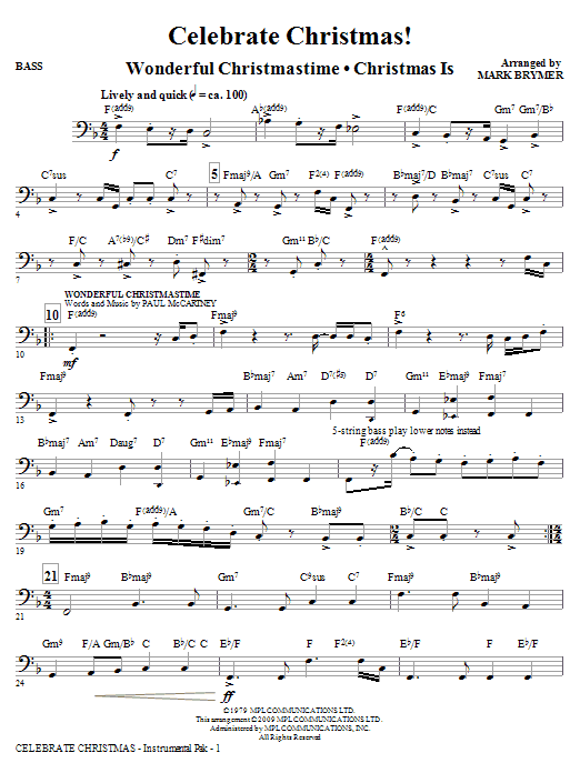 Mark Brymer Celebrate Christmas! (Medley) - Bass sheet music notes and chords. Download Printable PDF.
