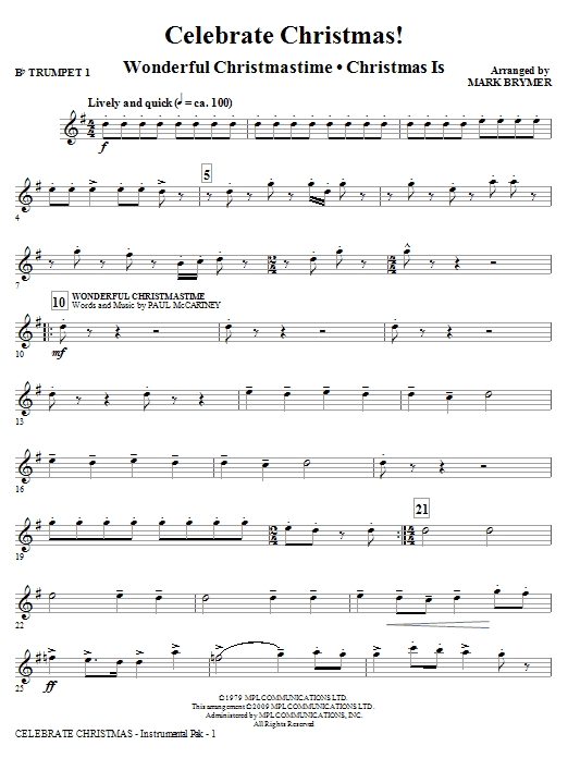 Mark Brymer Celebrate Christmas! (Medley) - Bb Trumpet 1 sheet music notes and chords. Download Printable PDF.