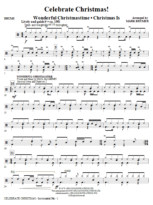 Mark Brymer Celebrate Christmas! (Medley) - Drums sheet music notes and chords. Download Printable PDF.