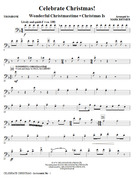 Mark Brymer Celebrate Christmas! (Medley) - Trombone sheet music notes and chords. Download Printable PDF.