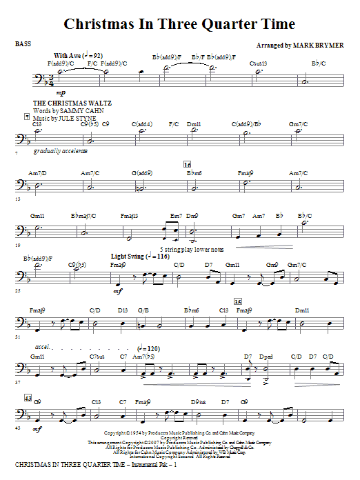 Mark Brymer Christmas In Three Quarter Time (Medley) - Bass sheet music notes and chords. Download Printable PDF.