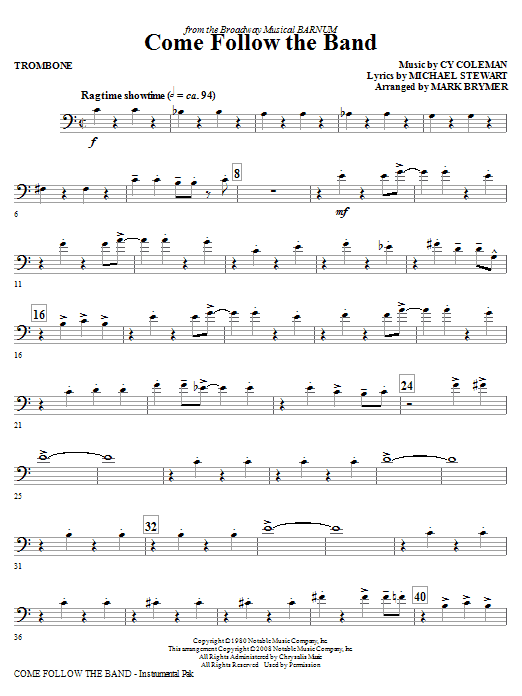 Mark Brymer Come Follow The Band - Trombone sheet music notes and chords. Download Printable PDF.