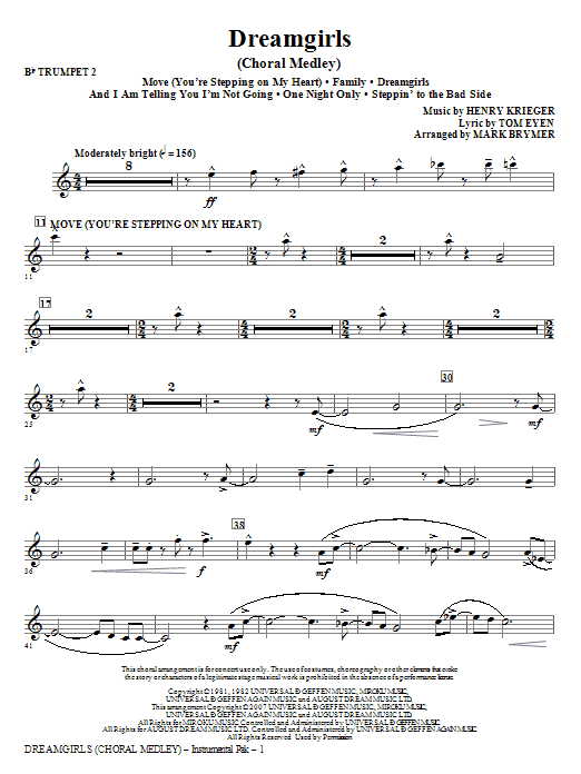 Mark Brymer Dreamgirls (Choral Medley) - Bb Trumpet 2 sheet music notes and chords. Download Printable PDF.