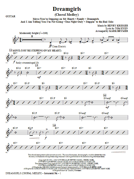 Mark Brymer Dreamgirls (Choral Medley) - Guitar sheet music notes and chords. Download Printable PDF.