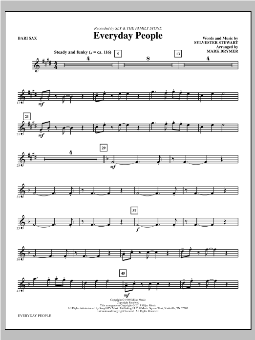 Mark Brymer Everyday People - Baritone Saxophone sheet music notes and chords. Download Printable PDF.