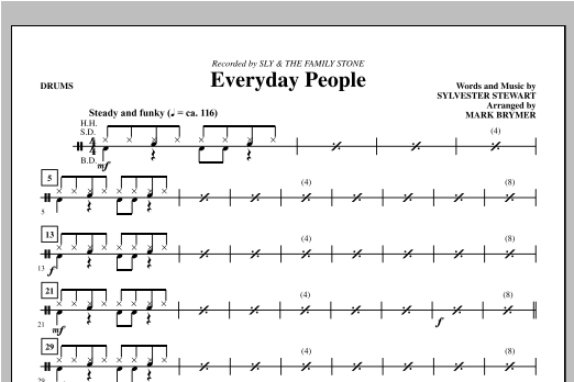 Mark Brymer Everyday People - Drums sheet music notes and chords. Download Printable PDF.