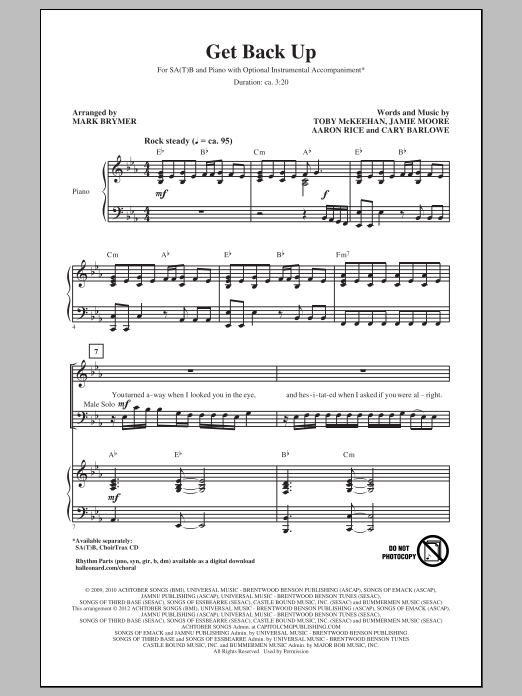 Mark Brymer Get Back Up sheet music notes and chords. Download Printable PDF.