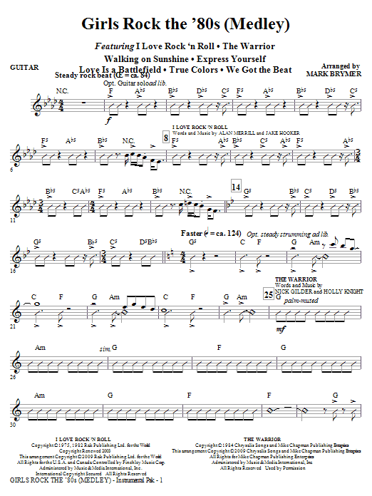 Mark Brymer Girls Rock the '80s (Medley) - Guitar sheet music notes and chords. Download Printable PDF.