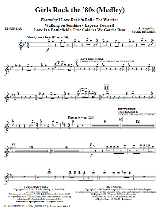 Mark Brymer Girls Rock the '80s (Medley) - Tenor Sax sheet music notes and chords. Download Printable PDF.