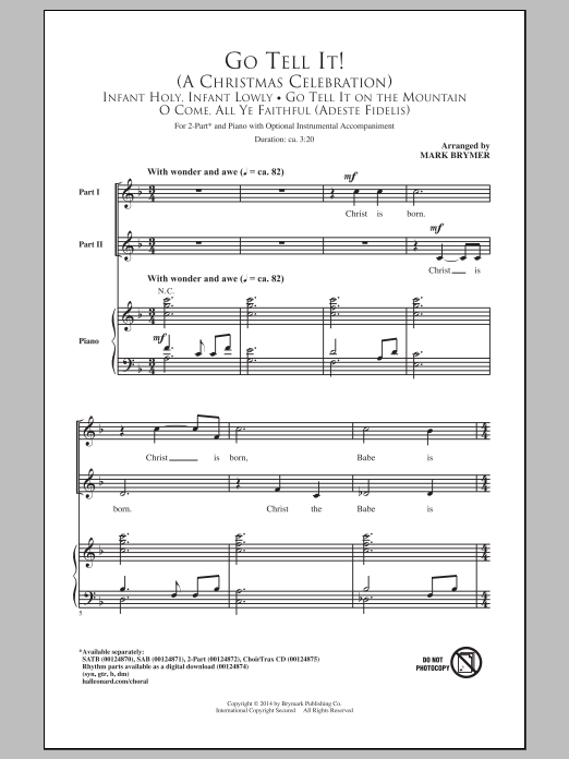 Mark Brymer Go Tell It! (A Christmas Celebration) sheet music notes and chords. Download Printable PDF.