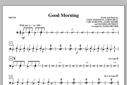 Mark Brymer Good Morning - Drums sheet music notes and chords. Download Printable PDF.