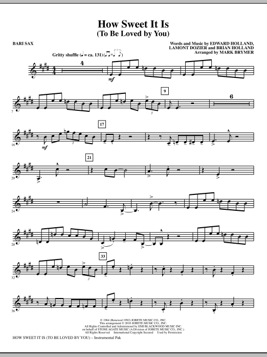 Mark Brymer How Sweet It Is (To Be Loved By You) - Baritone Sax sheet music notes and chords. Download Printable PDF.