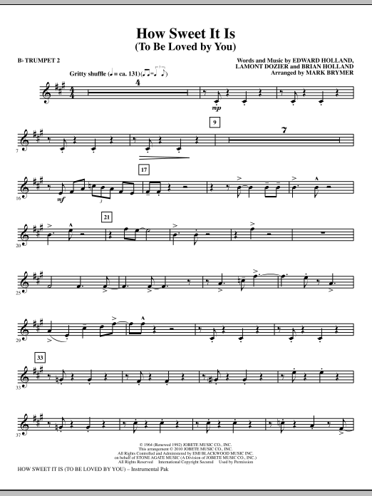 Mark Brymer How Sweet It Is (To Be Loved By You) - Bb Trumpet 2 sheet music notes and chords. Download Printable PDF.