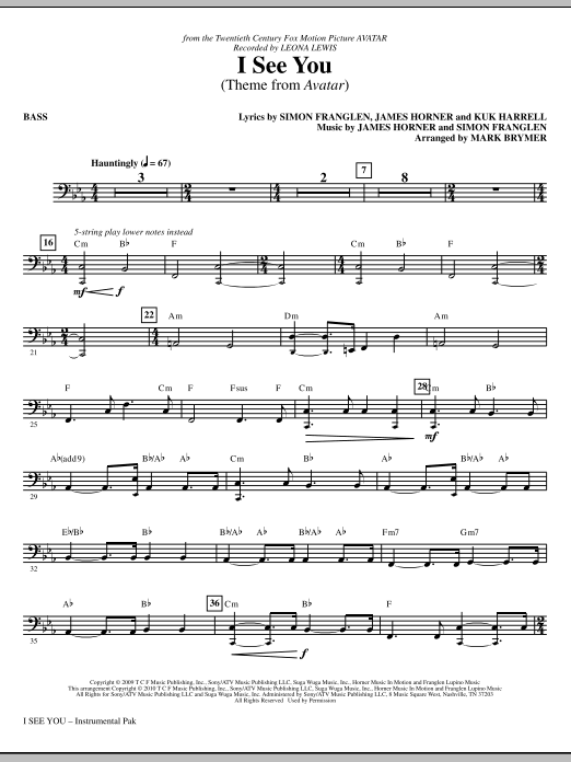 Mark Brymer I See You (Theme from Avatar) - Bass sheet music notes and chords. Download Printable PDF.