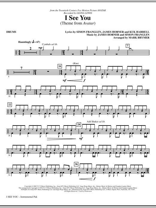 Mark Brymer I See You (Theme from Avatar) - Drum Set sheet music notes and chords. Download Printable PDF.