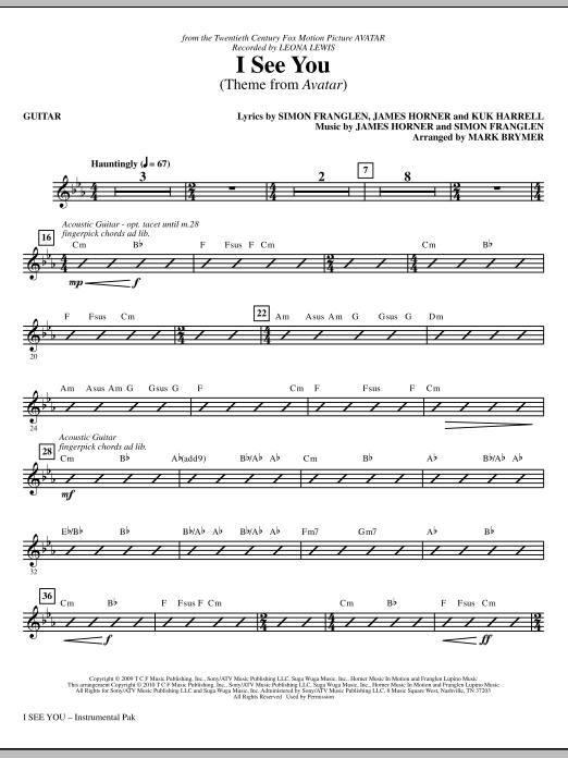 Mark Brymer I See You (Theme from Avatar) - Guitar sheet music notes and chords. Download Printable PDF.
