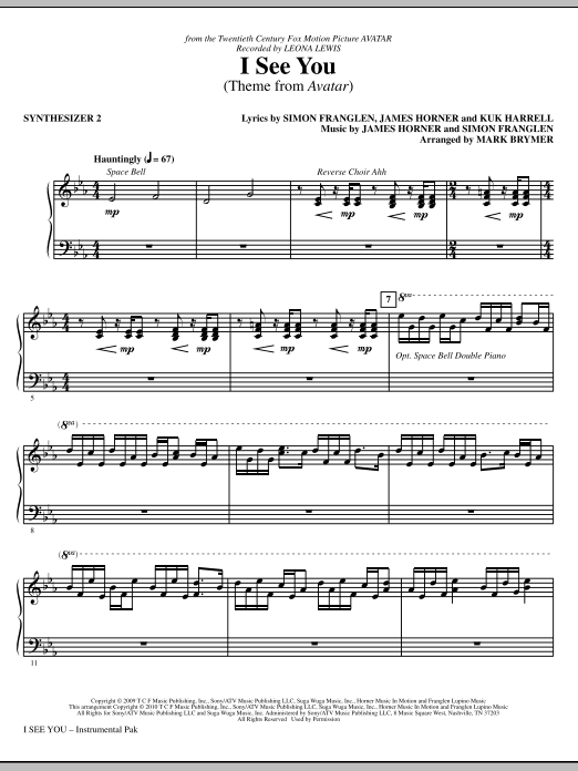 Mark Brymer I See You (Theme from Avatar) - Synthesizer II sheet music notes and chords. Download Printable PDF.