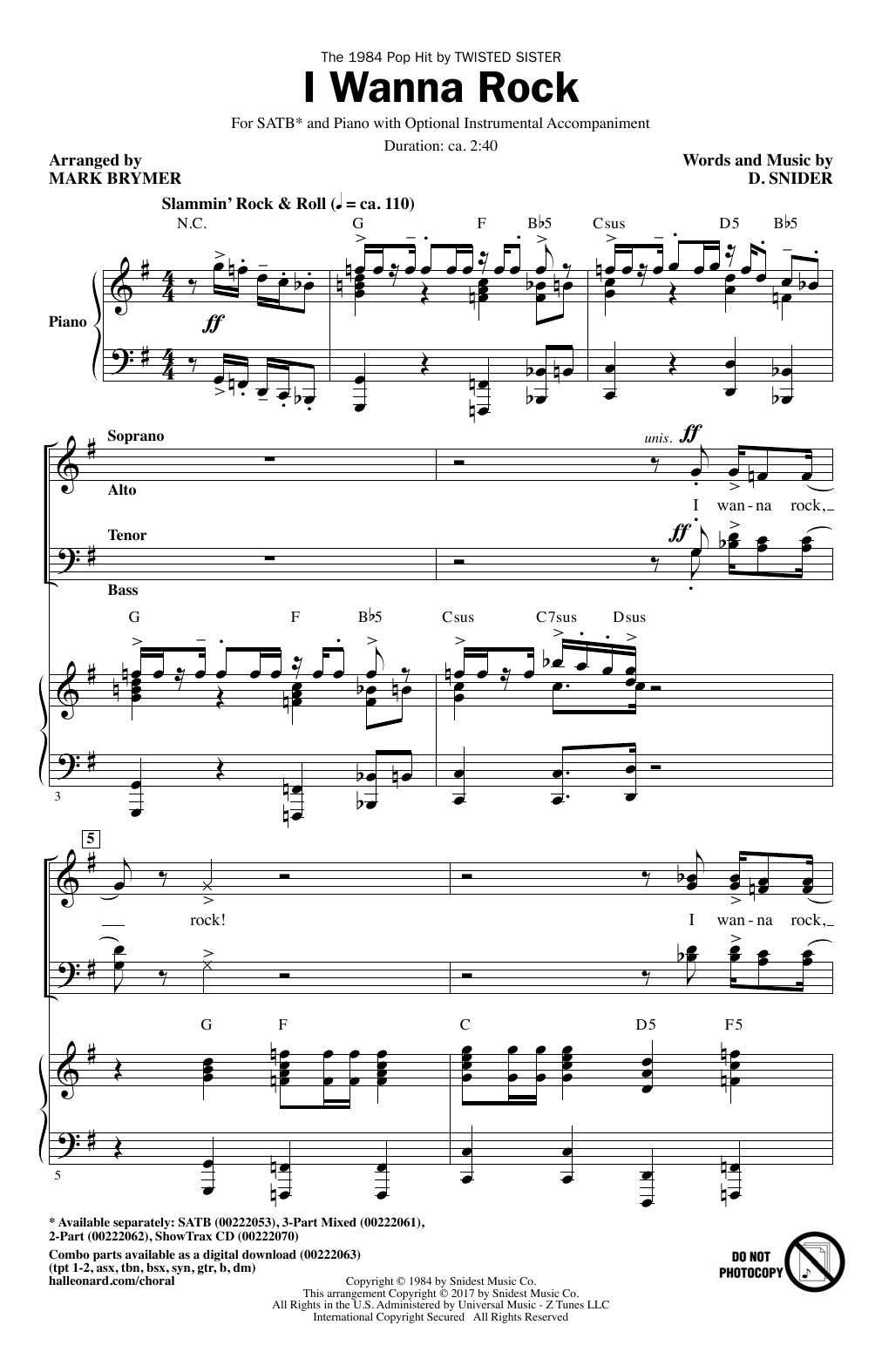 Mark Brymer I Wanna Rock sheet music notes and chords. Download Printable PDF.