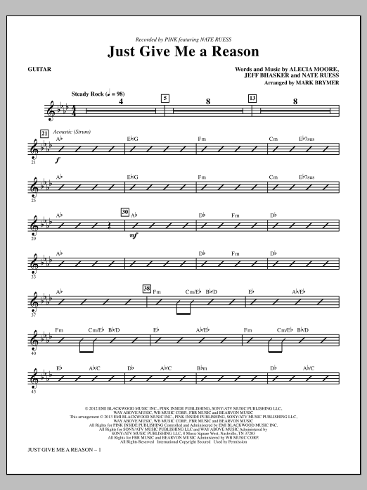 Mark Brymer Just Give Me a Reason - Guitar sheet music notes and chords. Download Printable PDF.